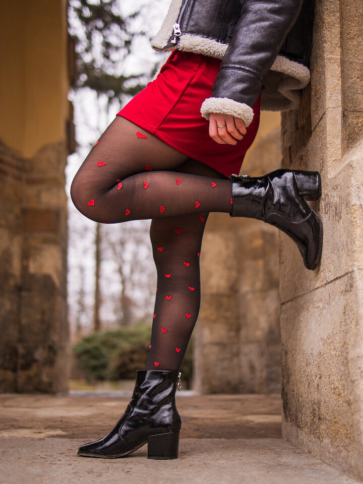 Sale Nylon Tights Red Hearts