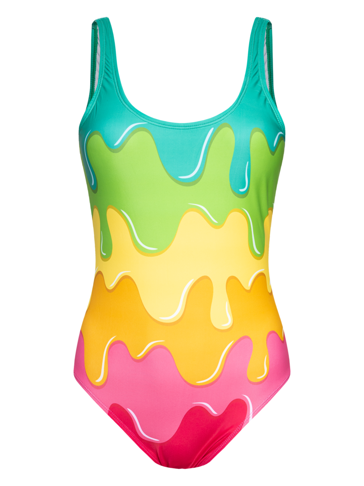 Sale Women's One-piece Swimsuit Color Splash