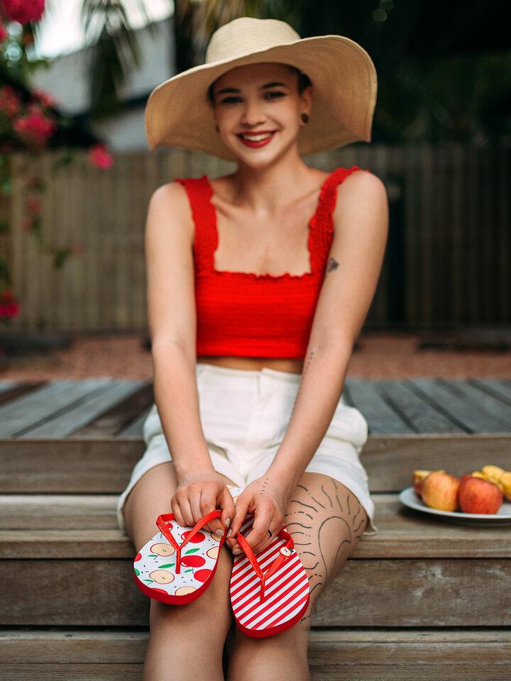 Výpredaj Tongs rigolotes avec décoration Pomme joyeuse
