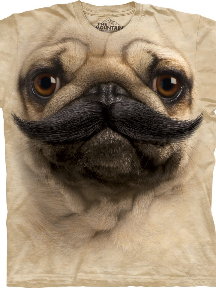 Ausverkauf T-Shirt Mops mit Schnurrbart