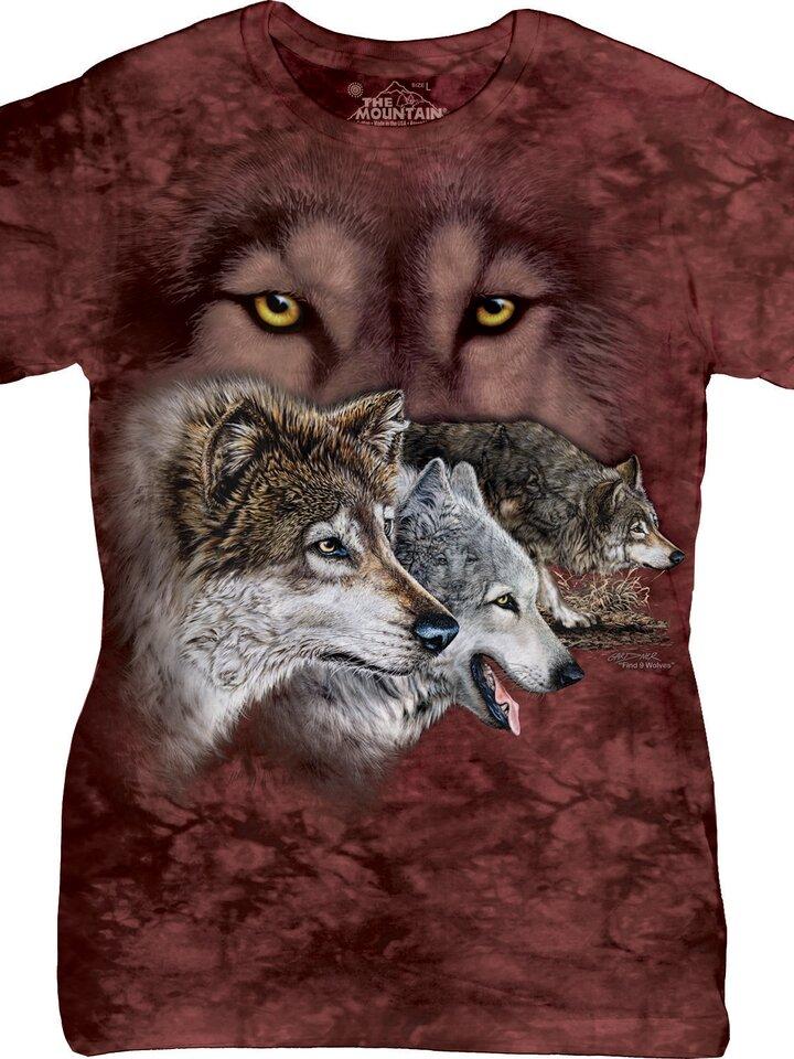 Foto Dámske tričko s hlavolamom Nájdi 9 vlkov