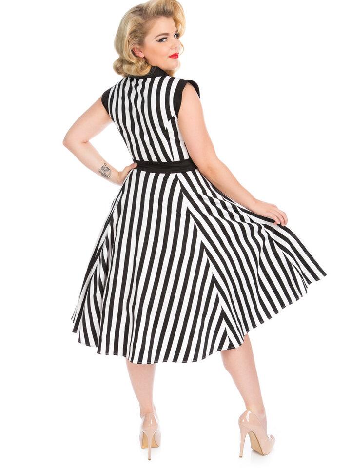 Vintage Streifen Pin Up Kleid Schwarz-weiß   Dedoles