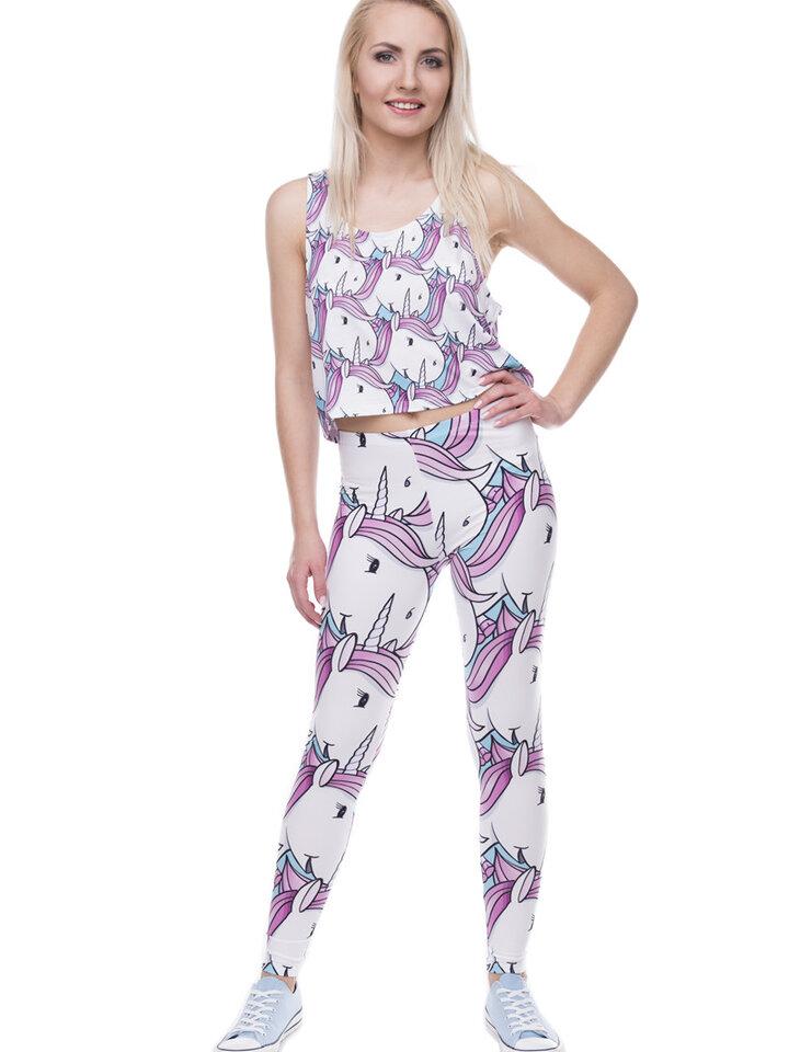 Lifestyle-Foto Damen Leggings elastisch Weiße Einhörner