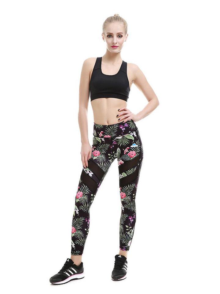 pro dokonalý a originální outfit Dámské síťované sportovní legíny Tropické květy