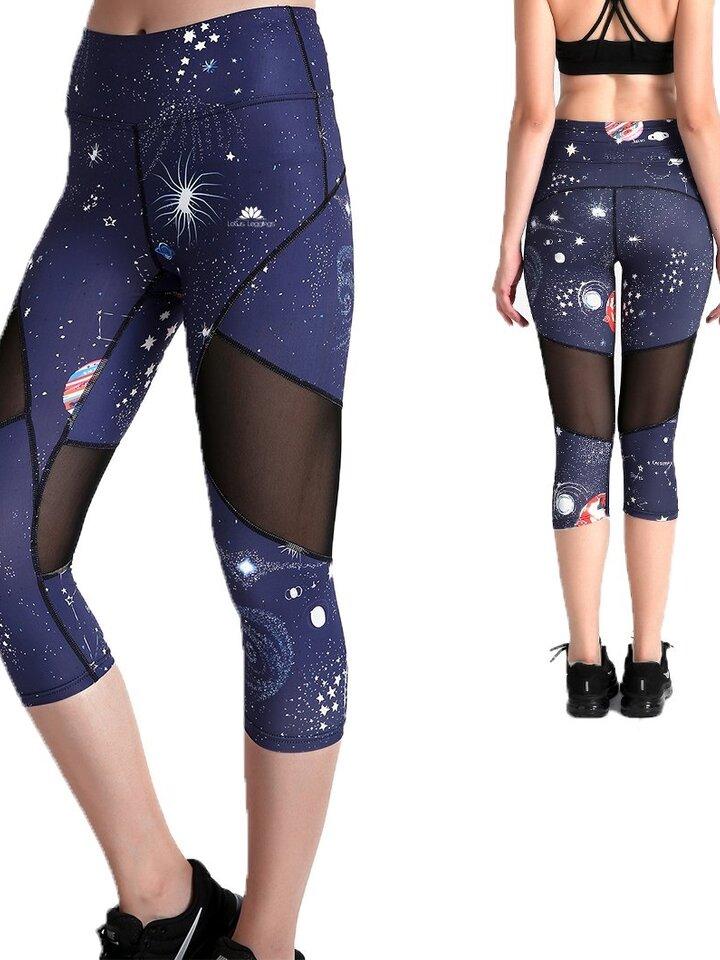 Pre dokonalý a originálny outfit Ženske športne capri pajkice z mrežo Vesoljska telesa