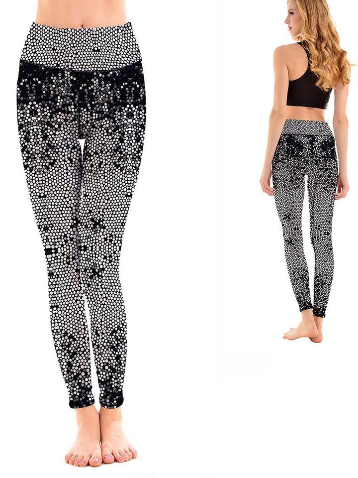 Lifestyle fotó Női sportos elasztikus leggings Feketefehér mozaik