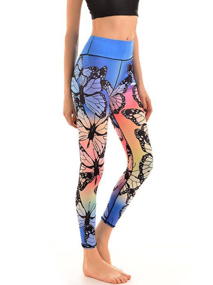 Suchen Sie ein originelles und außergewöhliches Geschenk? überrascht den Beschenkten sicher Damen Sport Elastisch Leggings Regenbogen-Schmetterlinge