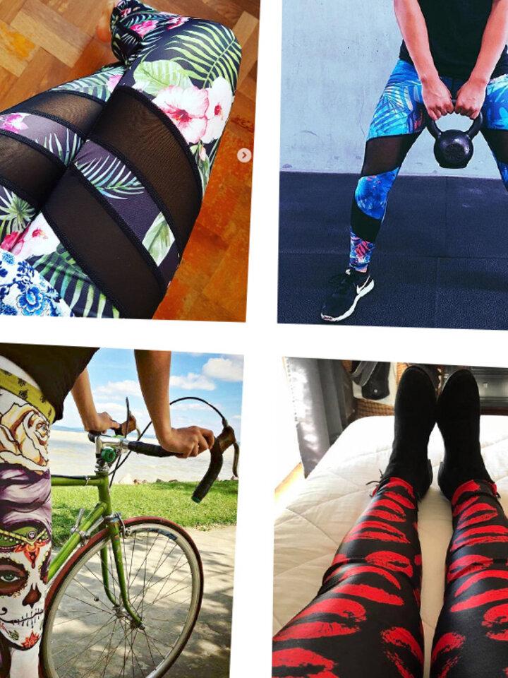 Lifestyle-Foto Damen Sport Elastisch Leggings Regenbogen-Schmetterlinge