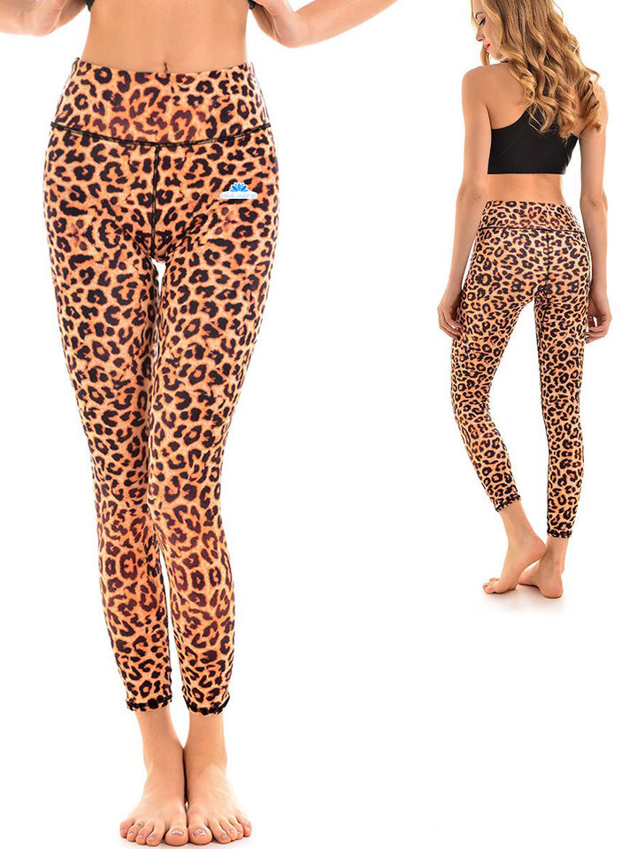 Zdjęcie lifestyle Ladies' Elastic Sport Leggings - Cheetah Pattern