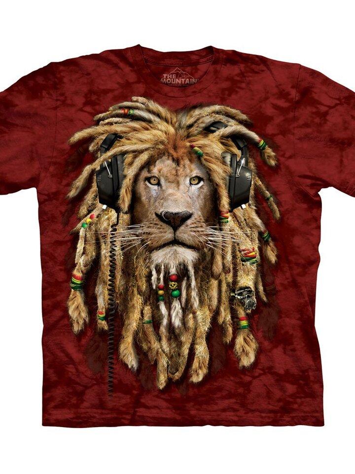 Pre dokonalý a originálny outfit Red T-shirt Lion with Dreadlocks