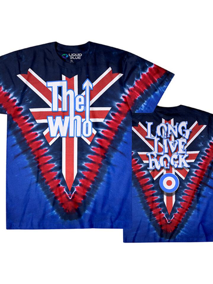 Sleva Modré batikované hudební tričko The Who Long live rock