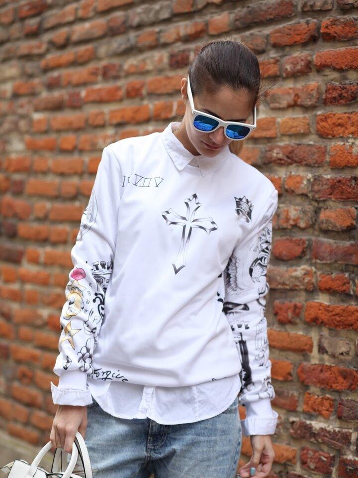 Suchen Sie ein originelles und außergewöhliches Geschenk? überrascht den Beschenkten sicher Sweatshirt ohne Kapuze Justin Bieber Tattoos
