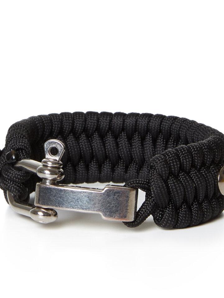 Rabatt Paracord Survival Armband Schildkröte schwarz mit einstellbarem Verschluss