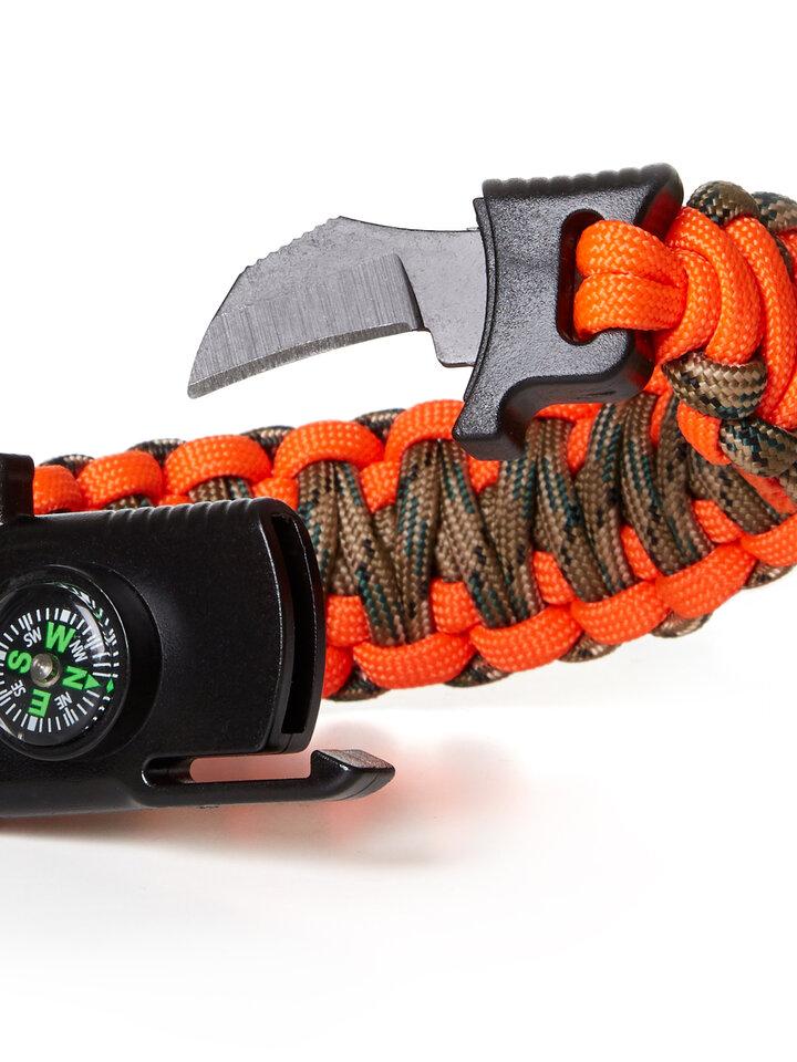 Tip na darček Paracors survival náramok výstražný poľovnícky s nožom, kompasom, píšťalkou a kresadlom