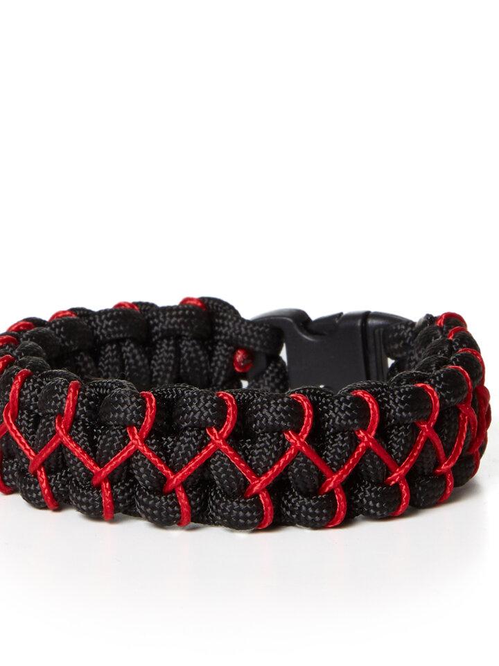 Szerezzen magának örömet ezzel a Dedoles darabbal Paramicord túlélési karkötő Kobra X fekete-piros