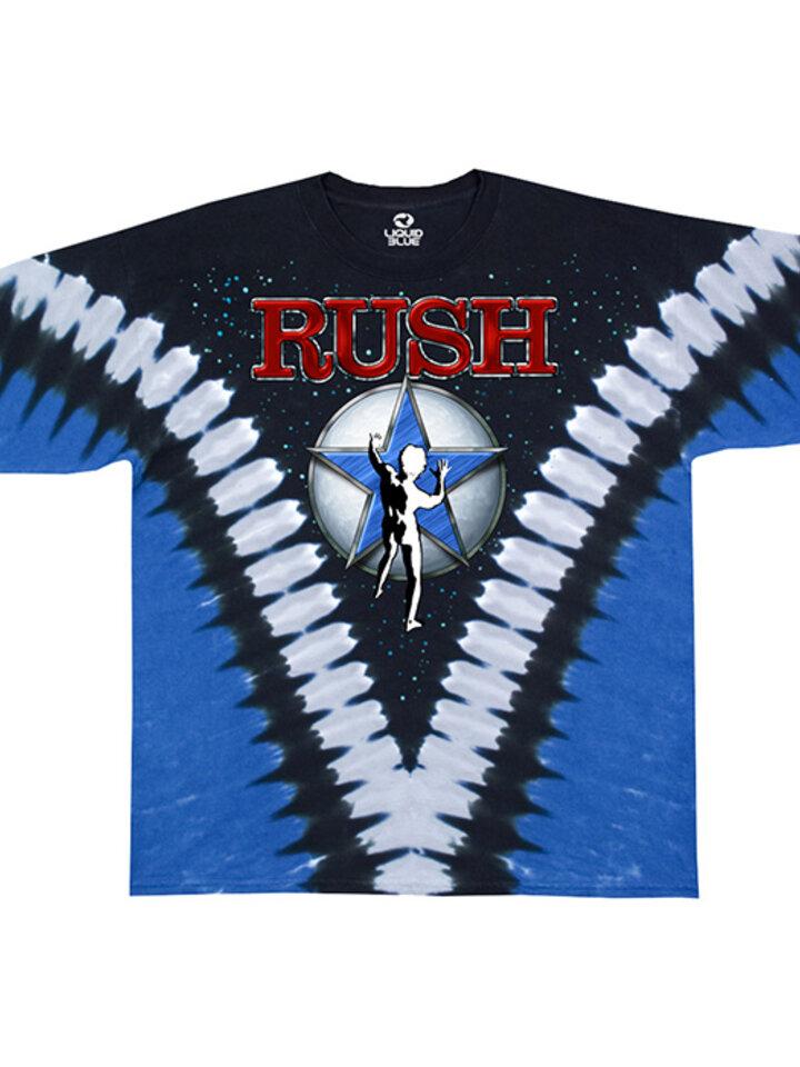 Tip na darček Modré batikované hudobné tričko Rush Starman