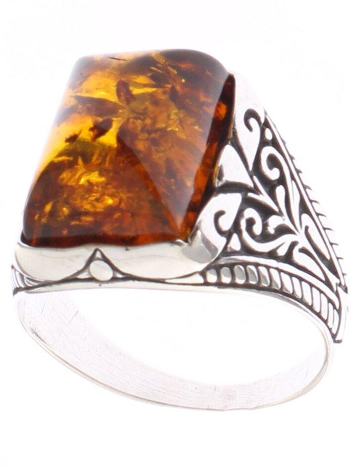 Obrázok produktu Strieborný prsteň s jantárom Zlatá tehlička
