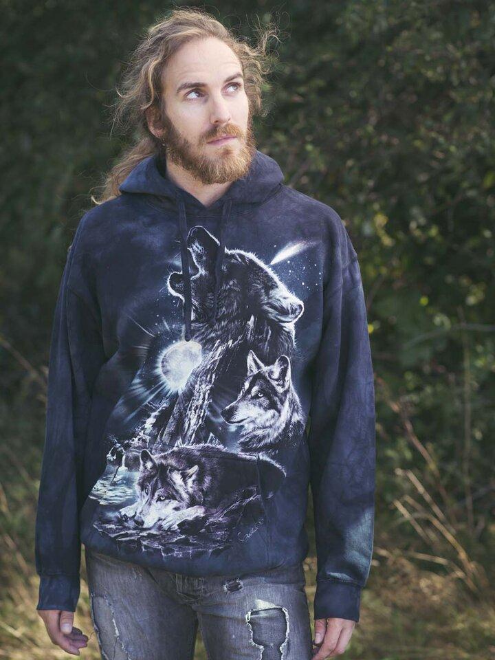 Lifestyle foto Hanorac cu glugă Urletul lupilor la lună