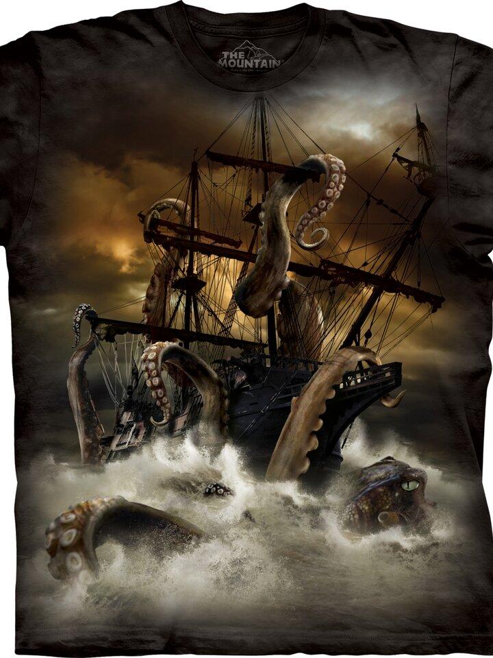 Foto Tričko Chobotnice Kraken a loď - dětské