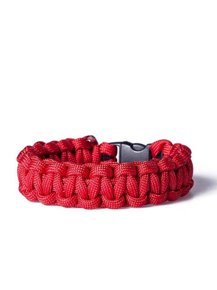 Suchen Sie ein originelles und außergewöhliches Geschenk? überrascht den Beschenkten sicher Paracord Überleben-Armband rot