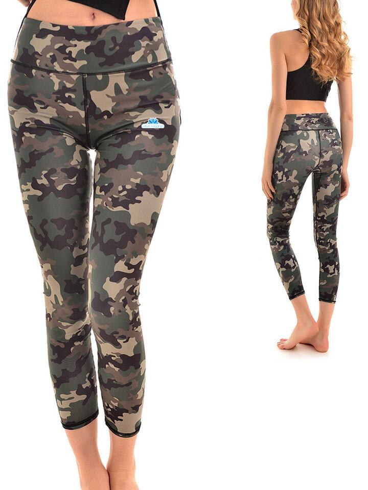 für ein vollkommenes und originelles Outfit Damen Sport Leggings Elastisch Tarn-Motiv