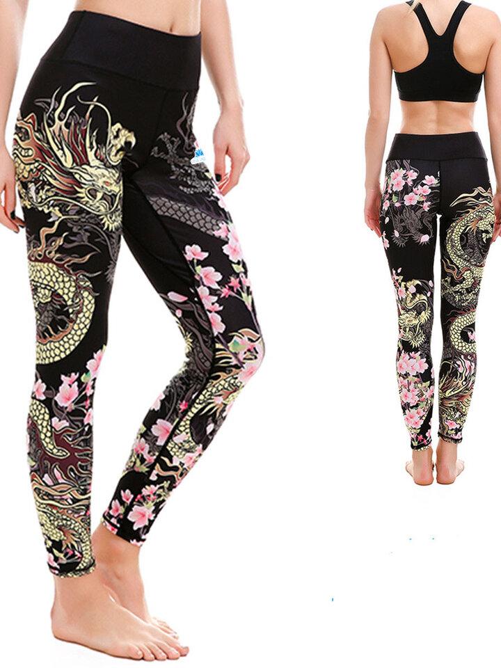 Gift idea Ladies' Sport Elastic Leggings Fearless Flower
