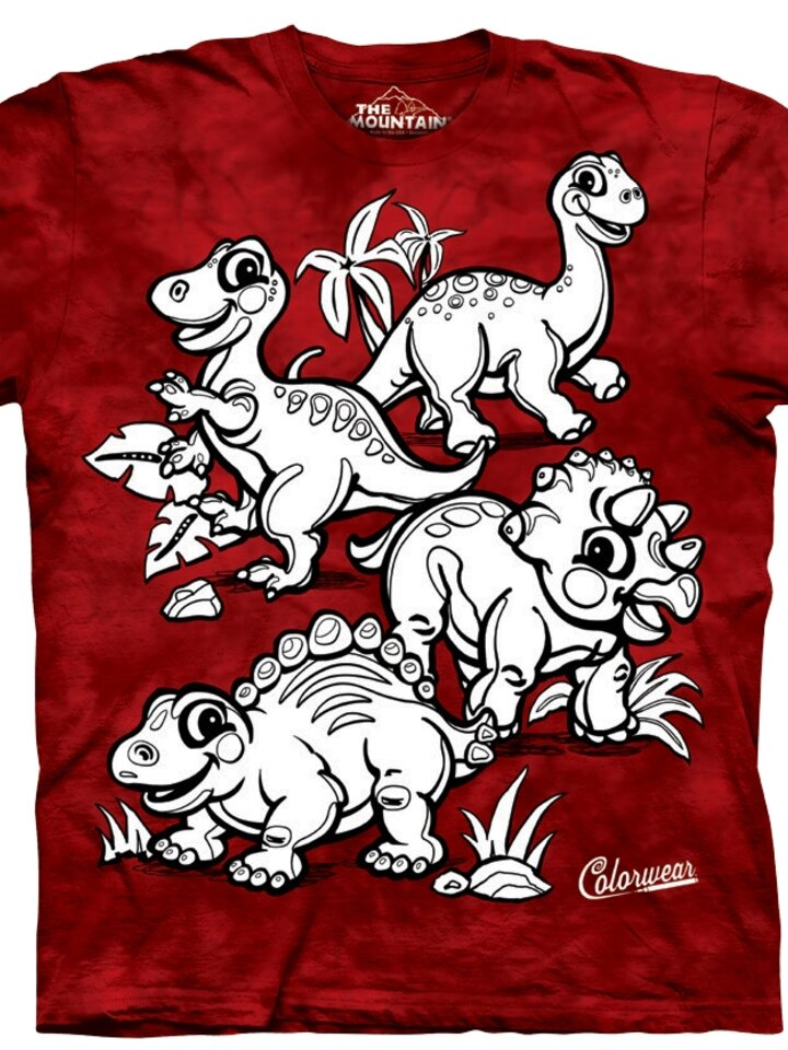 Original gift Kids Colorwear T-shirt Dinosaurs - red