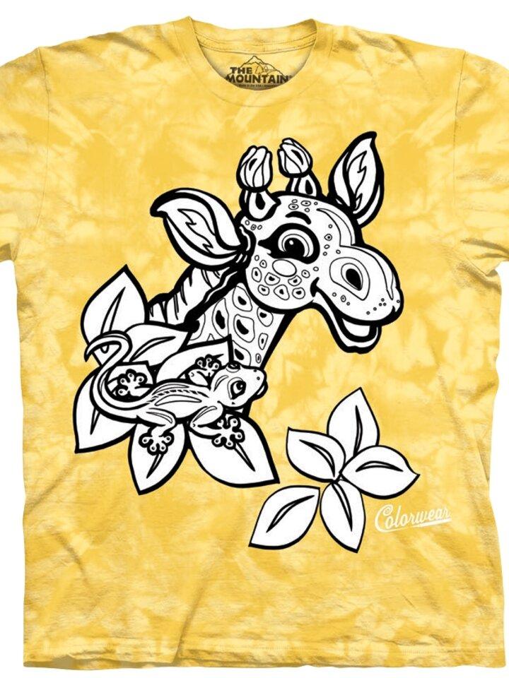 Výprodej Dětské vybarvovací tričko Žirafa - žluté