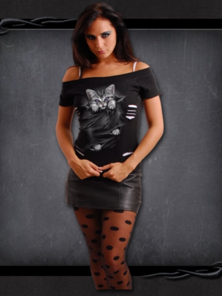 Bereiten Sie sich Freude mit diesem Dedoles-Stück Damen T-Shirt 2in1 Katzenklauen