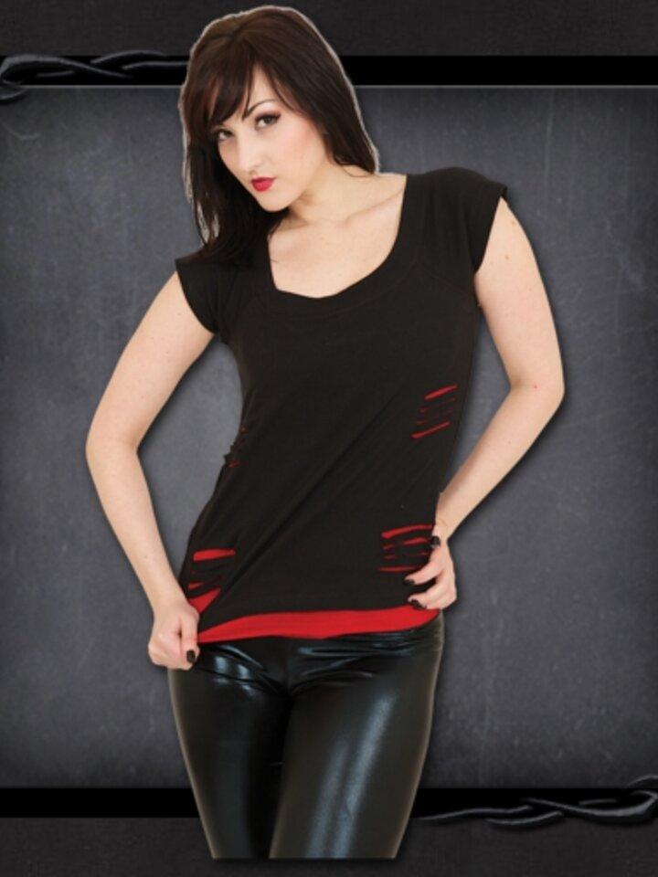Tip na darček Dámske tričko 2v1 Čierna a červená