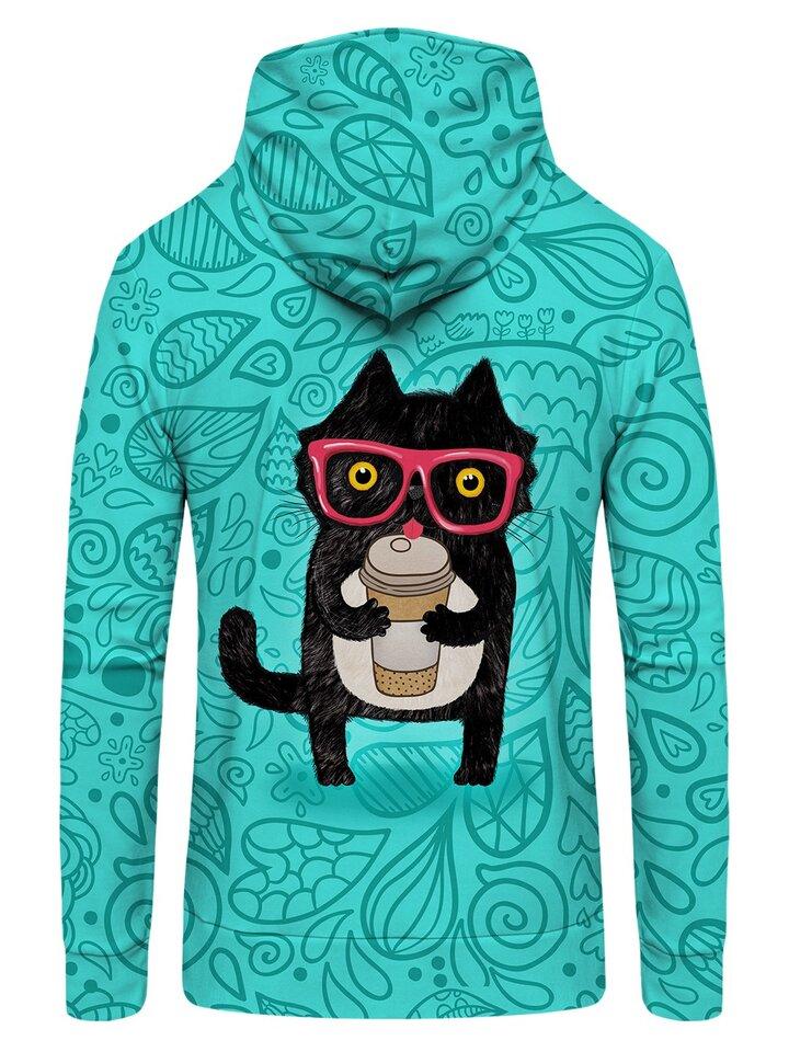 Wyprzedaż Zip Hoodie Cat with Coffee
