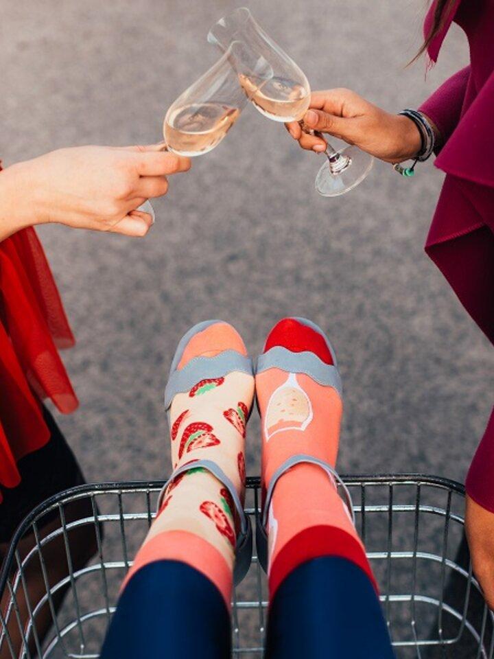 Foto Veselé ponožky Šampanské s jahodami