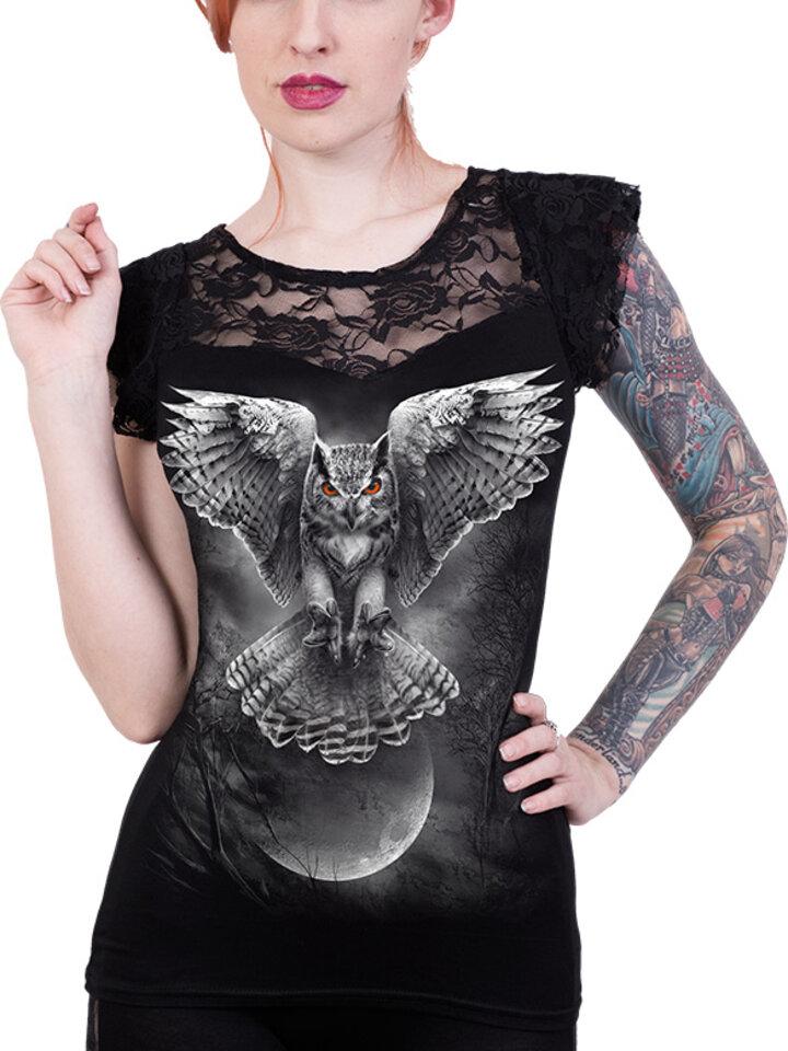 Pre dokonalý a originálny outfit Dámske tričko s čipkou Sovie krídla