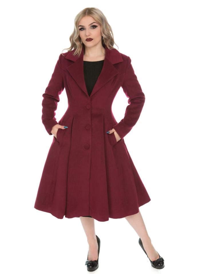 Zľava Bordový dámsky retro kabát s gombíkmi