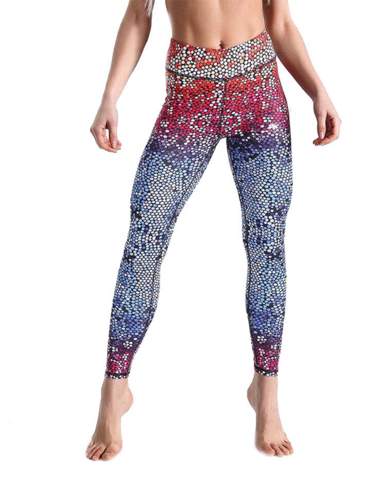 Pre dokonalý a originálny outfit Ženske športne elastične pajkice Rainbow Mosaic
