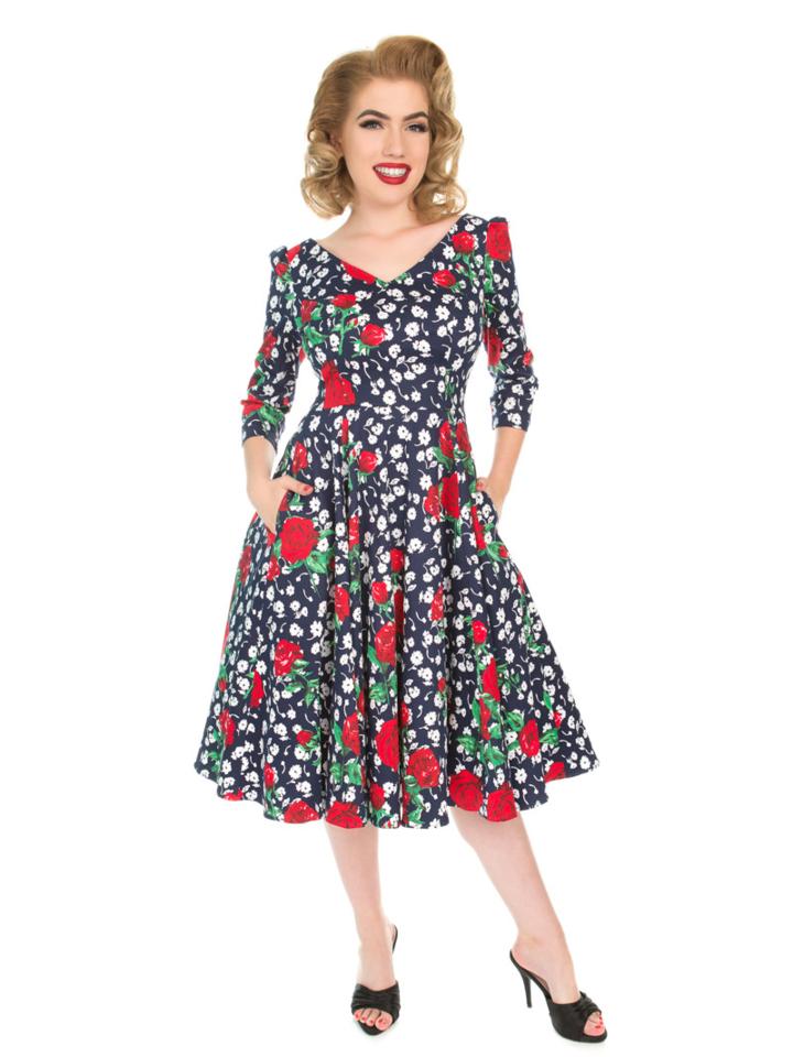 Výnimočný darček od Dedoles Retro pin up šaty s rukávom Biele a červené kvety