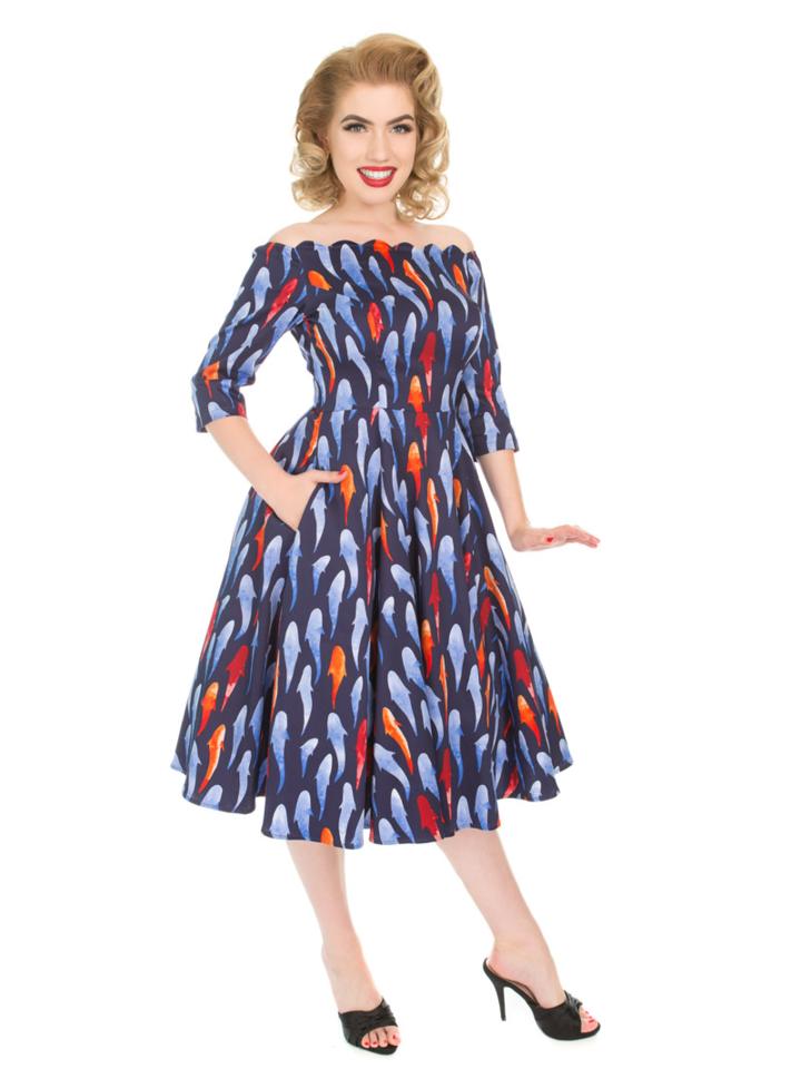Pre dokonalý a originálny outfit Retro pin up šaty s rukávom Rybky