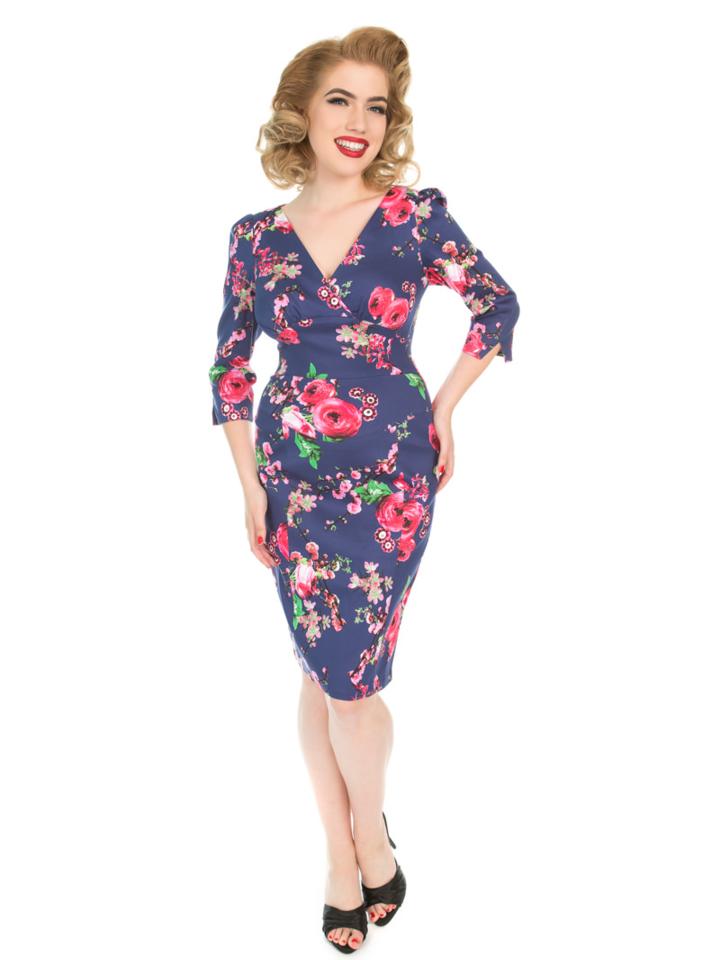 Pre dokonalý a originálny outfit Retro puzdrové šaty s rukávom Ružové kvety