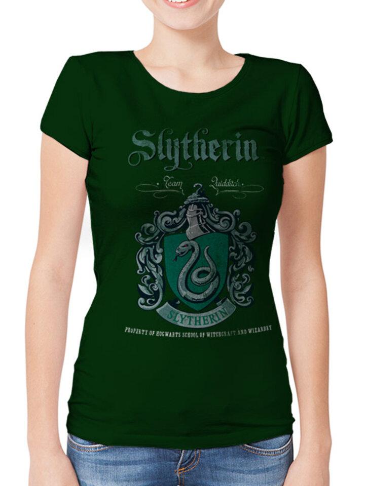 Hľadáte originálny a nezvyčajný darček? Obdarovaného zaručene prekvapí Дамска тениска Harry Potter - Slytherin куидич отбор