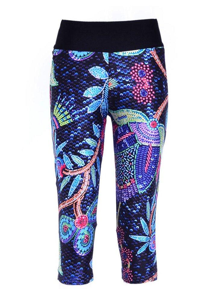 Obrázok produktu Ženske sportske capri tajice Neon cvijeće