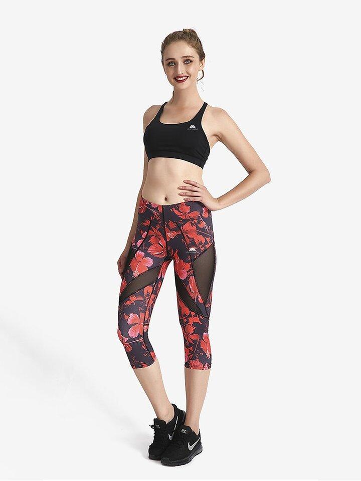 Kedvezmény Női sportos capri leggings hálós résszel Űr részek Piros virágok