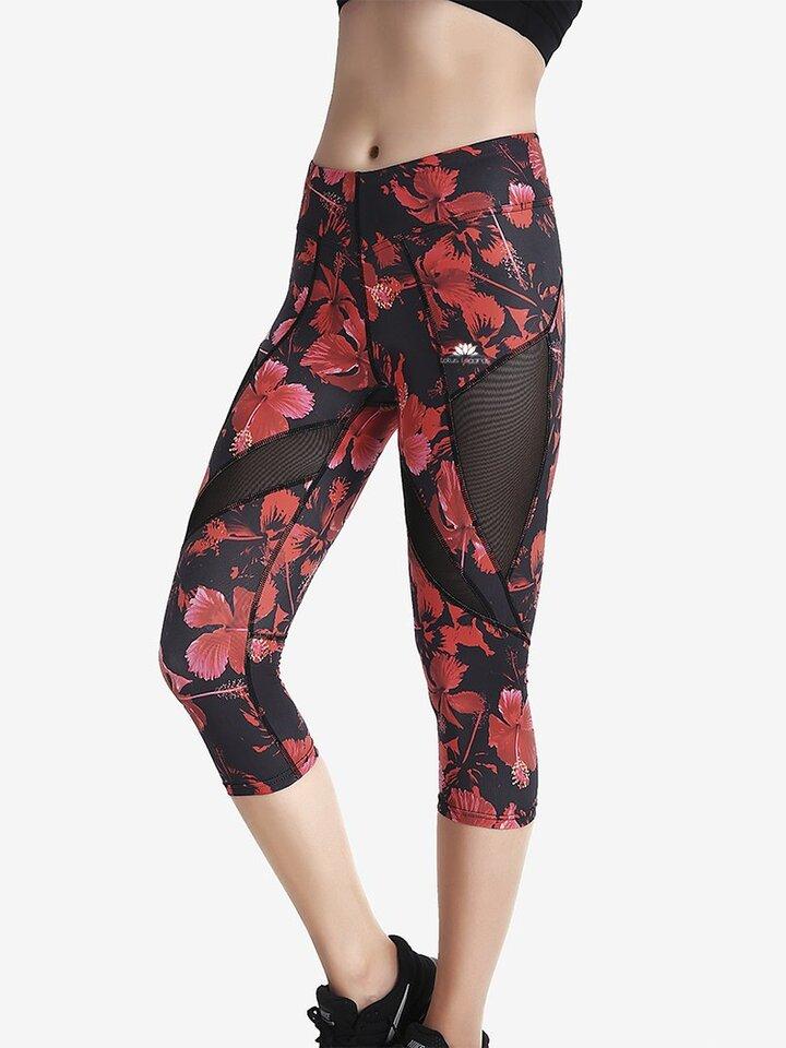Ausverkauf Damen Sport Capri Leggings mit Netz Rote Blumen