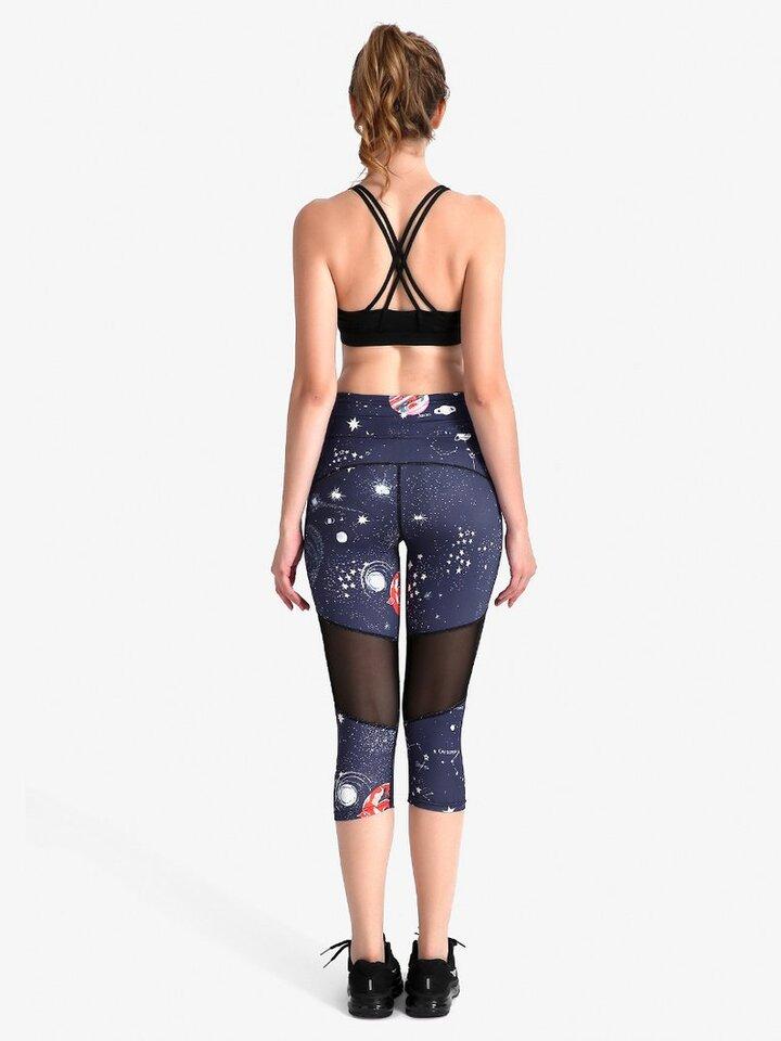 Obrázok produktu Ženske športne capri pajkice z mrežo Vesoljska telesa