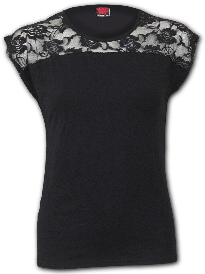 Cadou original de la Dedoles Tricou elegant Dantelă alb-negru