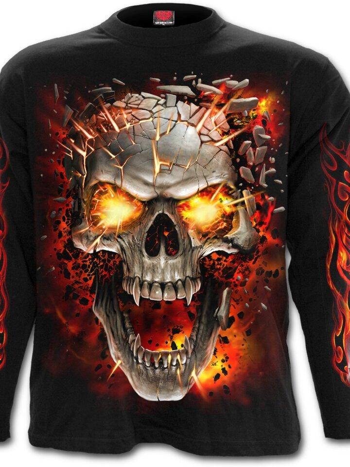 Rabatt T-Shirt mit langen Ärmeln Schädelexplosion
