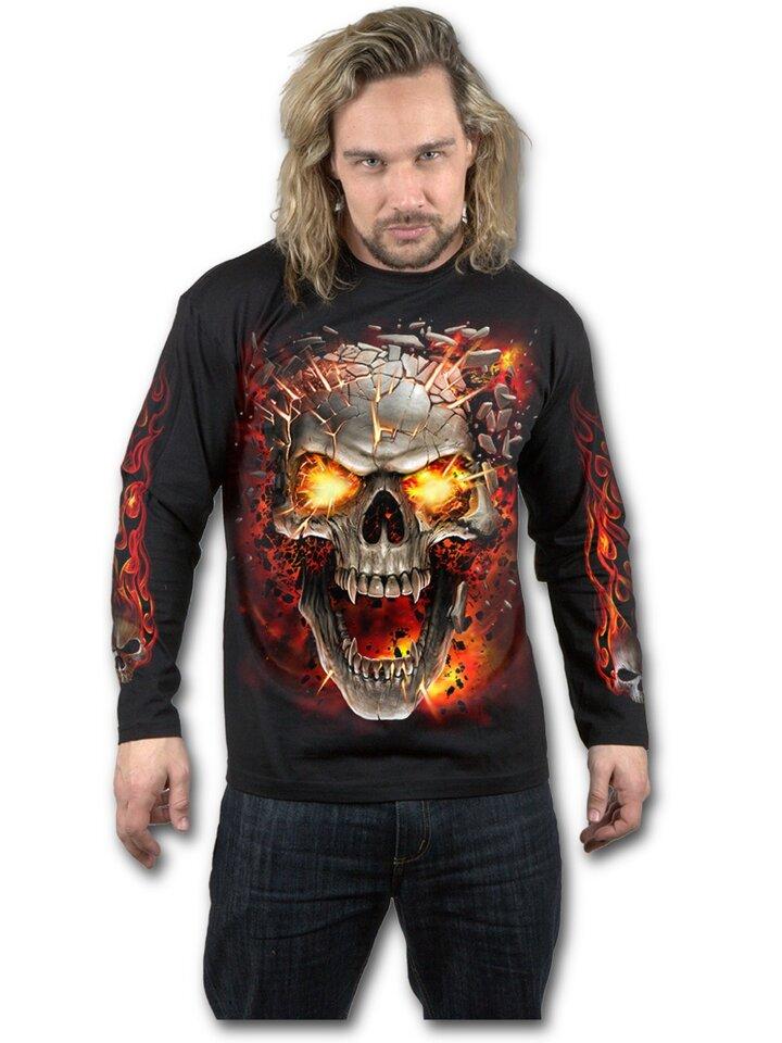 Suchen Sie ein originelles und außergewöhliches Geschenk? überrascht den Beschenkten sicher T-Shirt mit langen Ärmeln Schädelexplosion