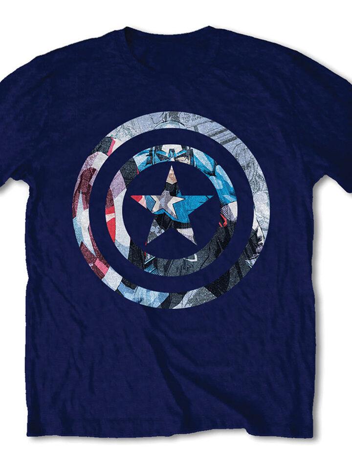 Zľava Temno modra majica Marvel Comics Captain America Knock-out