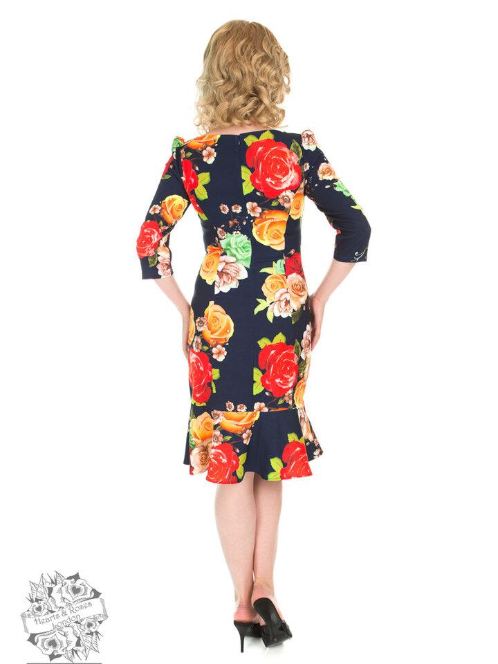Kiárusítás Retró pin up ruha Színes rózsák ujjakkal