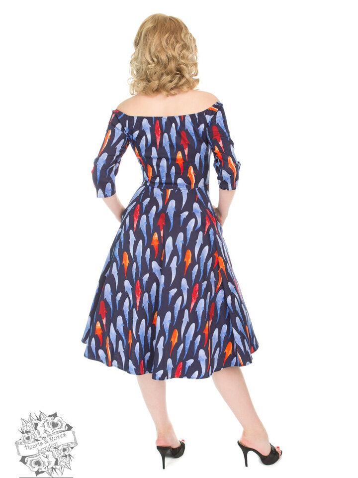 Zľava Retro pin up šaty s rukávom Rybky