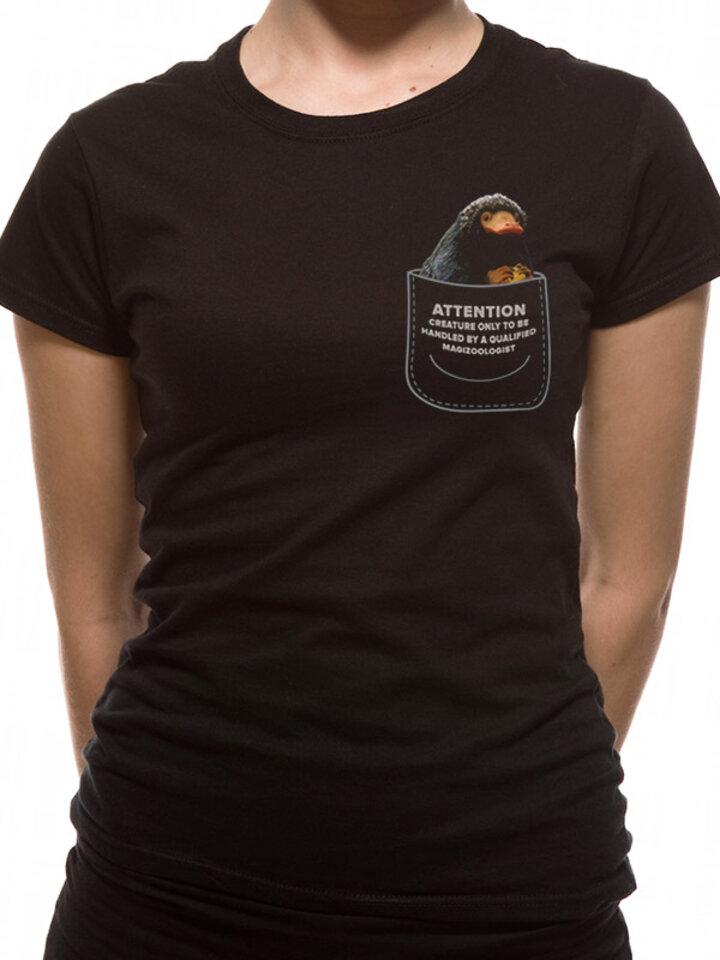 Hľadáte originálny a nezvyčajný darček? Obdarovaného zaručene prekvapí Ženska majica Grindelwaldovi zločini- Niffler u džepu